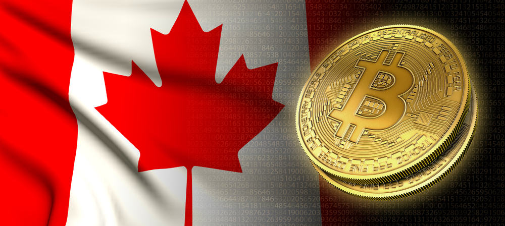 Bitcoins and Canada flag on the background